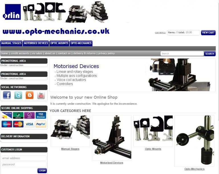 Opto-mechanics website sample page