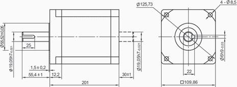 SM110201 - NEMA42 Stepper Motor Dimensions