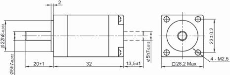 SM2832 - NEMA11 Stepper Motor Dimensions