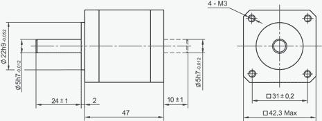 SM4247 - NEMA17 Stepper Motor Dimensions