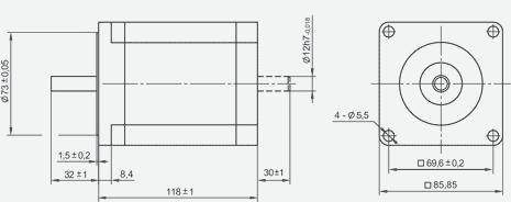 SM86118 - NEMA34 (long) Stepper Motor Dimensions