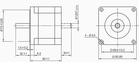SM8680 - NEMA34 Stepper Motor Dimensions
